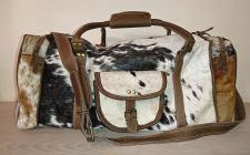 Cowhide Cow Hair Tan Leather Weekend Holdall Bag - Carpe Diem