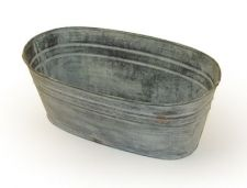 Chartwell Zinc Distressed Look Trough or Oval Planter - Set of 3