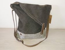 Grey Canvas & Leather Unusual Shoulder Bag Handbag - Carpe Diem