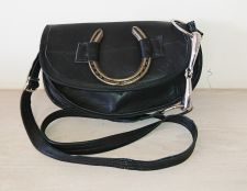 Snaffle Bit & Horseshoe Black Leather Half Moon Handbag - Joey D