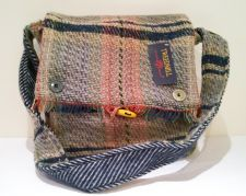 Stunning 100% Pure New Wool Recycled Bag - Dark Blue