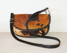Cowhide Brown Half Moon Handbag - Joey D