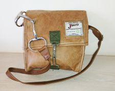 Snaffle Bit Tan Leather Messenger Bag - Joey D