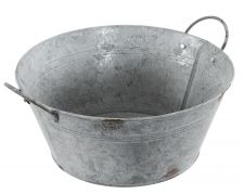Chartwell Zinc Distressed Look Metal Round Planter with Handles