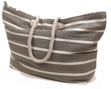 Beach Bag Extra Large - Grey & White Pinstriped Rope Handle
