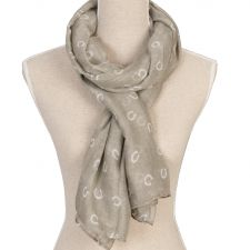 Ladies Grey Horse Shoe Scarf