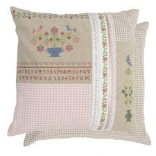 Country Chic Embroidered Cushion