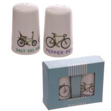 Retro Rides Bicycle Design Porcelain Salt & Pepper Set