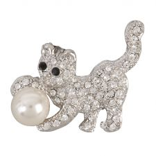 Diamant� & Pearl Cat Brooch