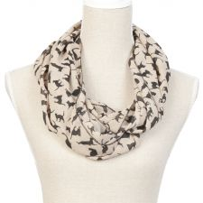 Ladies Cat Motive Cream & Black Scarf Snood