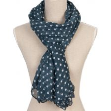 Ladies Blue Pokka Dot Scarf