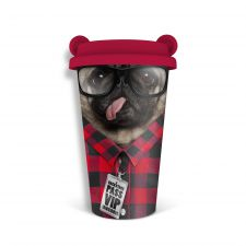 Coffee Crew Pug Dog Travel Mug