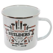 Builders Enamel Mug - Caution Builders at Work