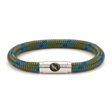 Boing Green Blue Peacock Rope Bracelet Steel Clasp
