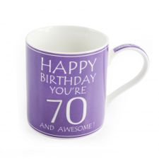 70th Birthday Mug - Purple - You're 70 & Awesome