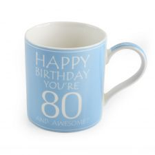 80th Birthday Mug - Blue - You're 80 & Awesome