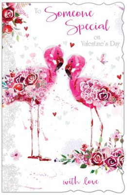 Valentine's Day Card - Large - Someone Special - Flamingo - Glittered - Out of the Blue