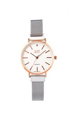 ETON Ladies Watch Metal Mesh Magnetic Strap Silver Rose Gold - 3316L-S