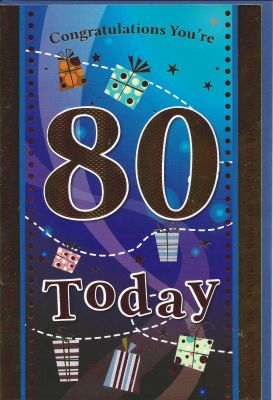 80th Birthday Card - Male - Blue 80 Today