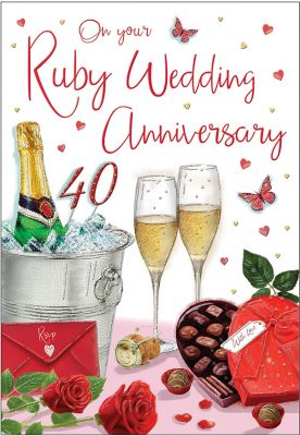 Wedding Anniversary Card - On Your Ruby 40 40th Anniversary - Regal