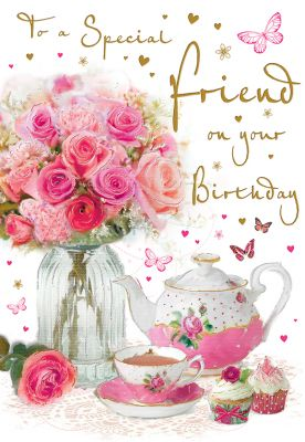 Birthday Card - Special Friend - Flowers & Teapot - Regal