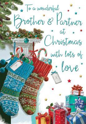 Christmas Card - Brother & Partner Stockings - Regal
