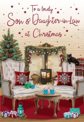 Christmas Card - Son & Daughter in Law Armchairs around the Log Burner - Regal