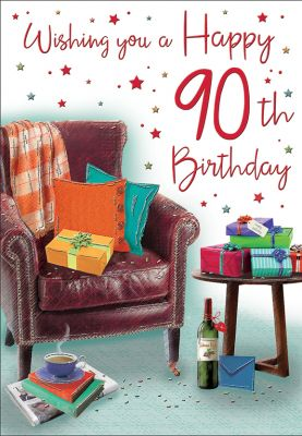 90th Birthday Card - Male - Armchair & Presents - Regal