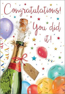 Congratulations Card - You Did It! Champagne