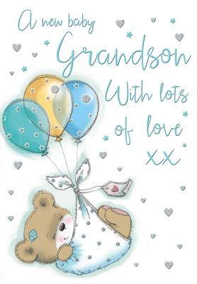 New Baby Boy Grandson Card - Bear & Balloons