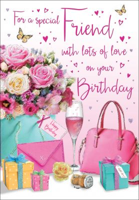 Birthday Card - Special Friend - Flowers & Presents Regal