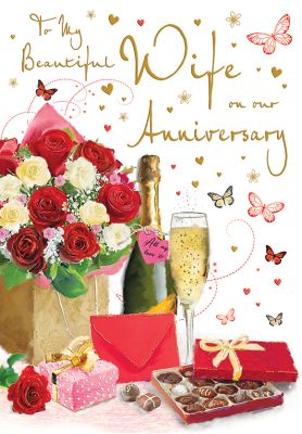 Wedding Anniversary Card - Wife Roses Champagne Chocolates - Glitter - Regal