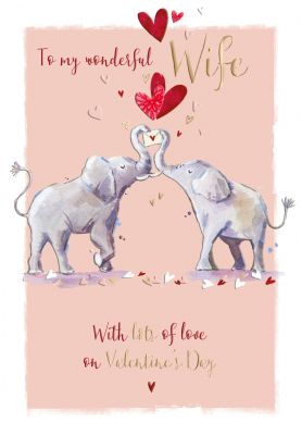 Valentine's Day Card - Wife - Elephant - Love Letter - Wildlife Ling Design