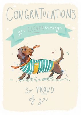 Congratulations Card - You Clever Sausage - Dog - Ling Design