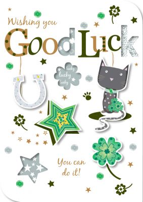 Good Luck Card - Horseshoe Cat - Talking Pictures