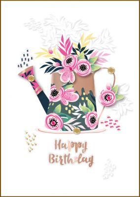 Birthday Card - Female Watering Can Garden - Bijou Talking Pictures