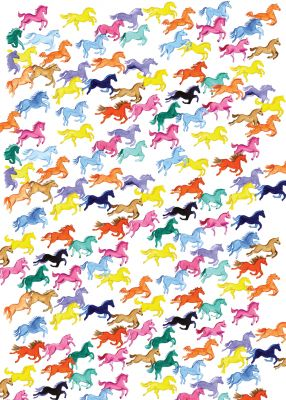 Rainbow Ponies Galloping Horses Equestrian Gift Wrap Sheet & Tag