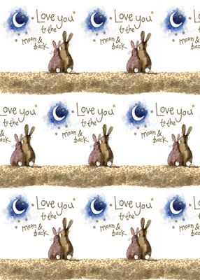 Love You Gift Wrapping Paper Sheets & Tags - Alex Clark