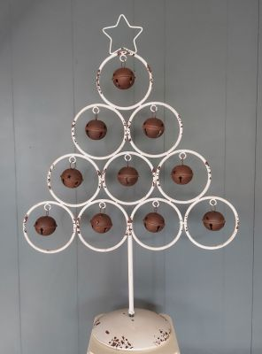 Christmas White Metal Bauble Bell Tree - Rustic 85cm