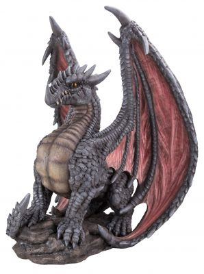 Mythical Dragon Large Statue - Grey - Garden Ornament - Indoor or Outdoor