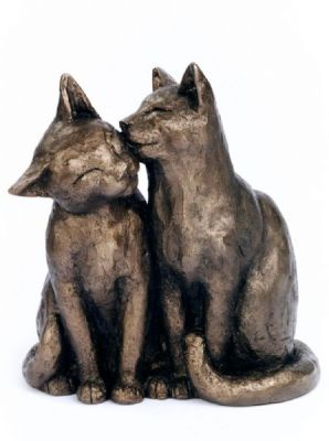 Cat Cold Cast Bronze Ornament - Yum Yum & Friend - Frith Sculpture