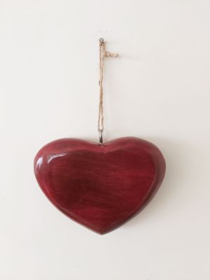 Red Wood Hanging Heart - Decoration - Home Decor - Mothers Day