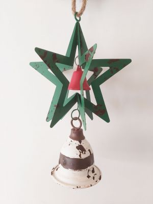 Christmas 3D Green Metal Star & White Bell Decoration