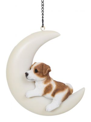Jack Russell Puppy Dog - Hanging Moon Garden Decoration Gift - Indoor or Outdoor