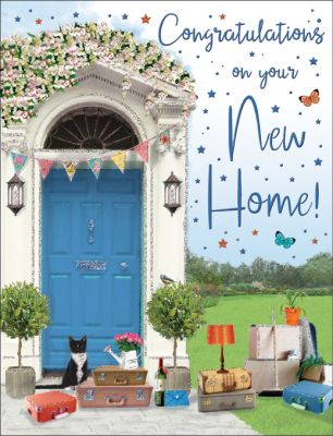 New Home Card - Blue Front Door - Regal