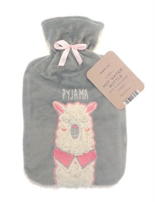 Llama Pyjama Grey Hot Water Bottle