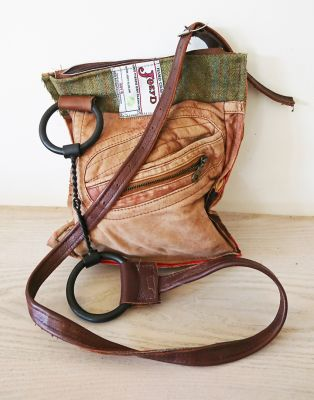 Twisted Wire Snaffle Bit Tweed & Tan Leather Handbag - Joey D