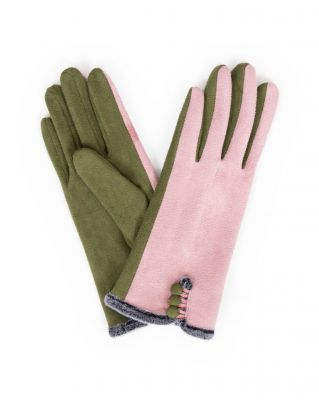 Powder UK Ladies Amanda Faux Suede Gloves - Pink & Moss Green
