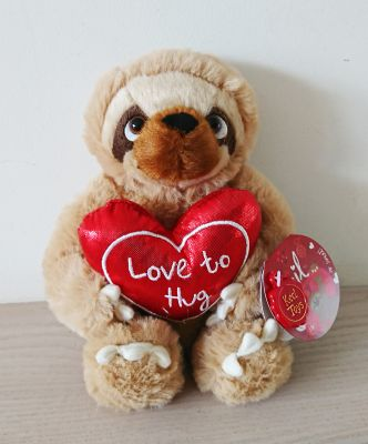Sloth Cecil Soft Toy With Red Heart 18cm - Love To Hug Keel