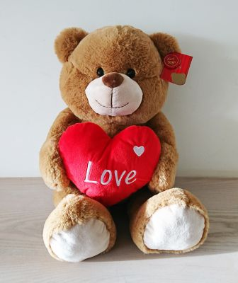 Bertie Bear Brown Soft Toy With Red Heart 40cm - Love Keel
